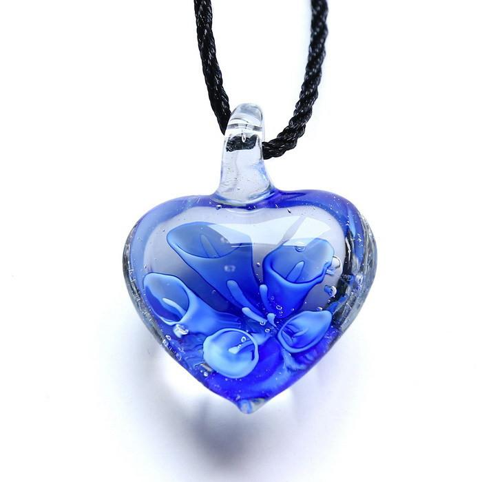 Handmade Blue Heart Flower Glass Necklace
