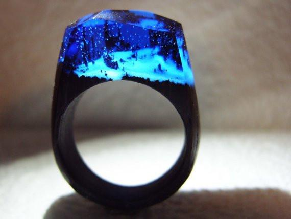 Enchanted Snowy Mountains Handmade Wooden&Resin Ring