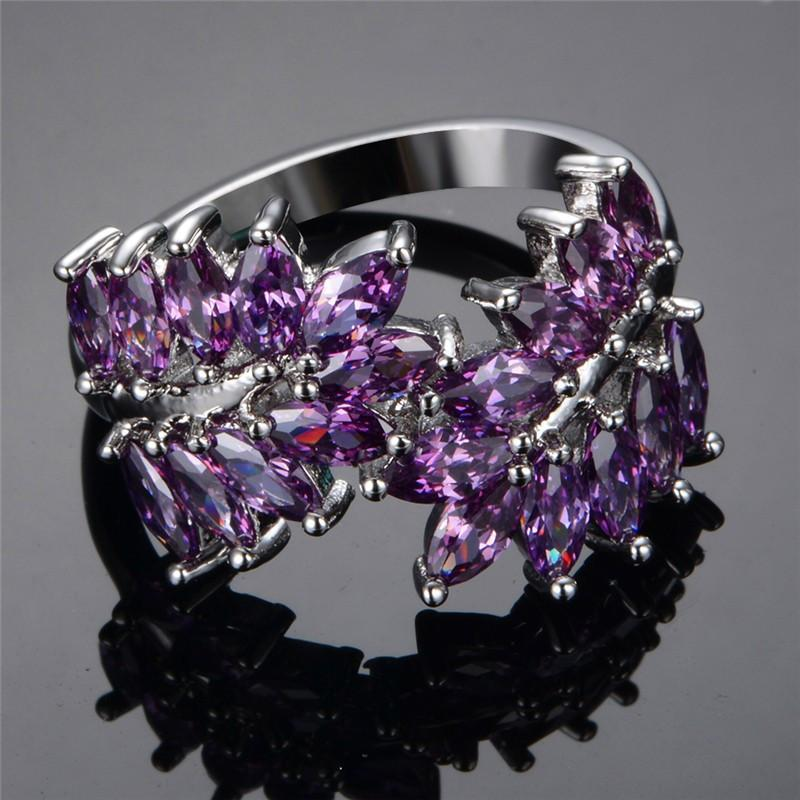 Purple Sapphire Leaves Ring